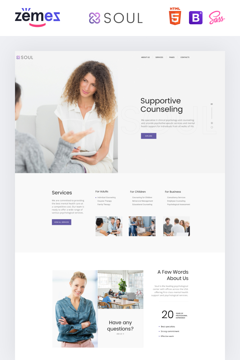 Responsivt Soul - Supportive Counseling Multipage HTML Hemsidemall #90426