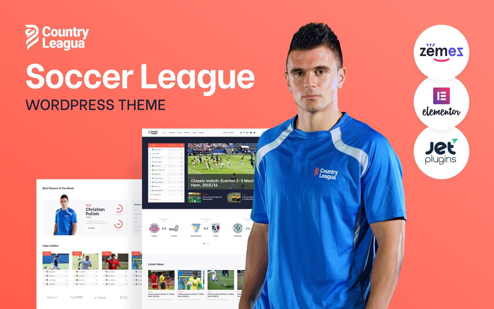 Responsywny motyw WordPress Counter Leagua - Soccer League #90497