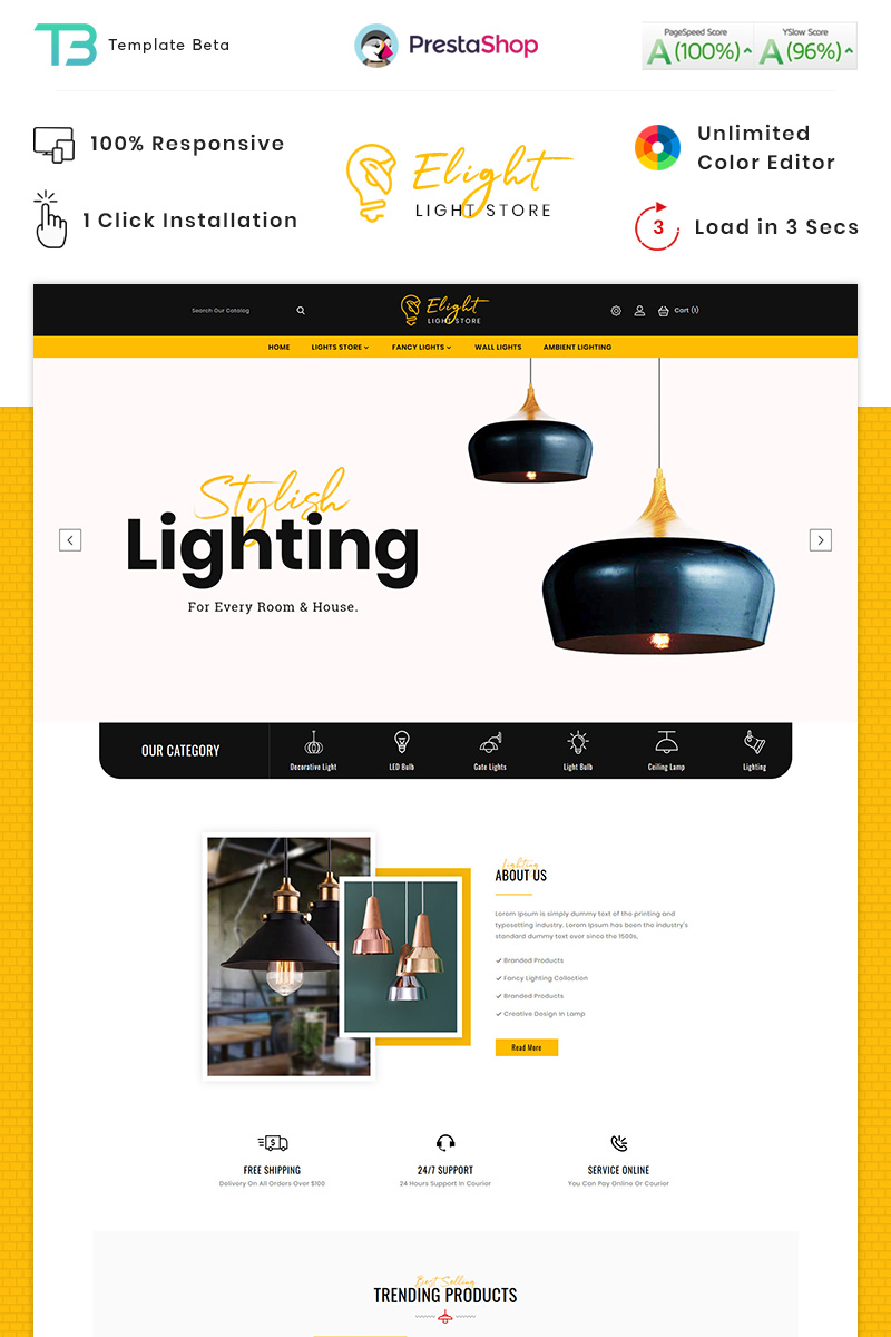 Reszponzív E-Light - LED Lighting Store PrestaShop sablon 90414