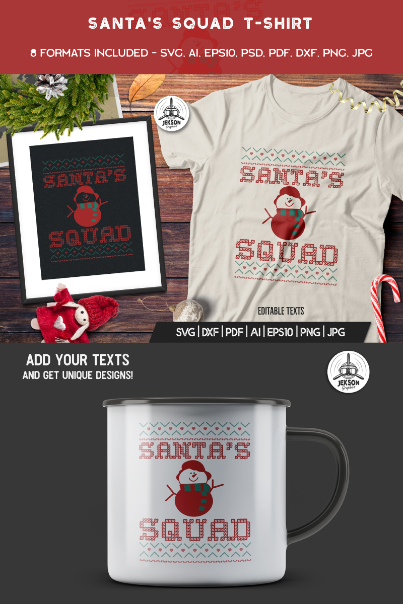 Santa's Squad Christmas T-shirt #90472