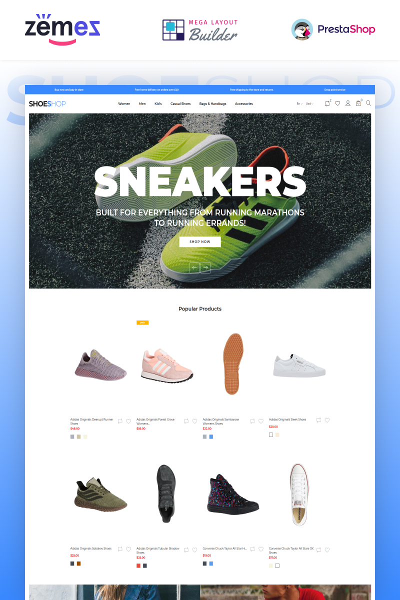"""ShoeShop - Boot Shop"" Responsive PrestaShop Thema №90437"