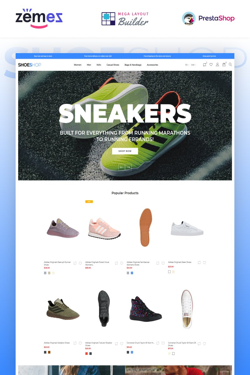 """ShoeShop - Boot Shop"" thème PrestaShop adaptatif #90437"