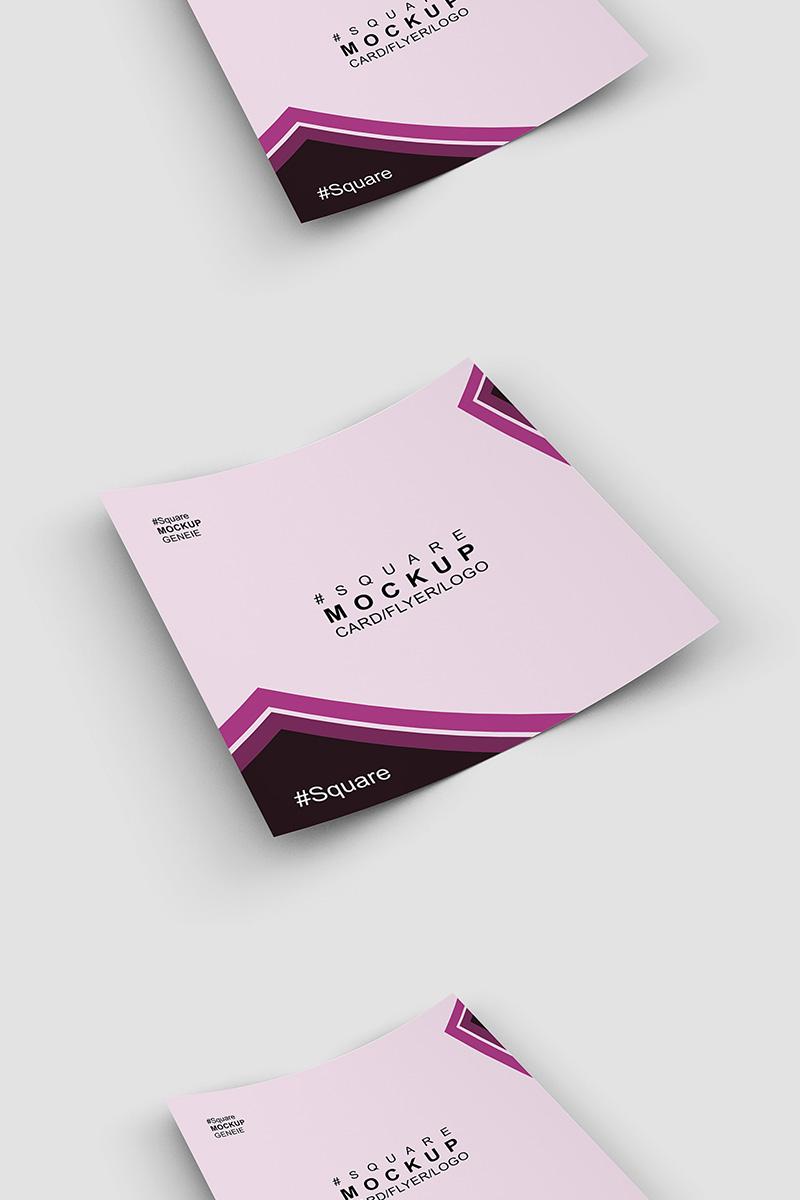 """""""Square card business card on a flat sruface"""" maquette de produit  #90445"""