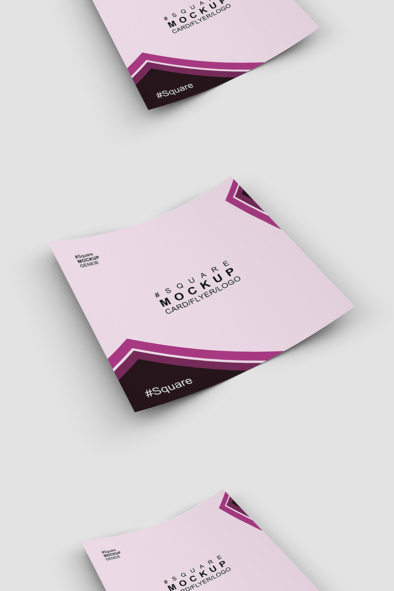 """""""Square card business card on a flat sruface"""" Product Mockup №90445"""