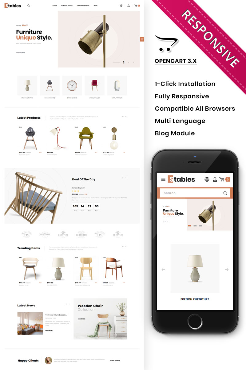 """Stables - The Mega Furniture Store"" thème OpenCart adaptatif #90413"