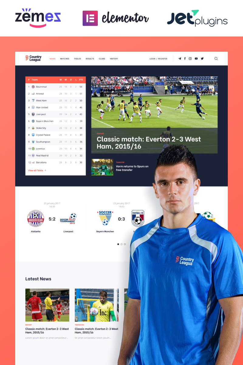 "Tema De WordPress ""Counter Leagua - Soccer League"" #90497"