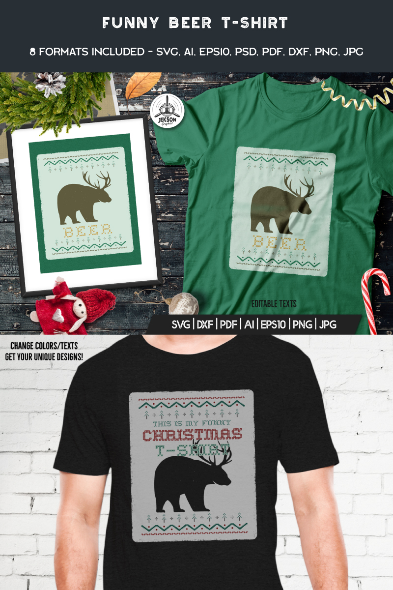 "Tema T-shirt #90471 ""Funny Christmas Ugly Sweater - Beer"""