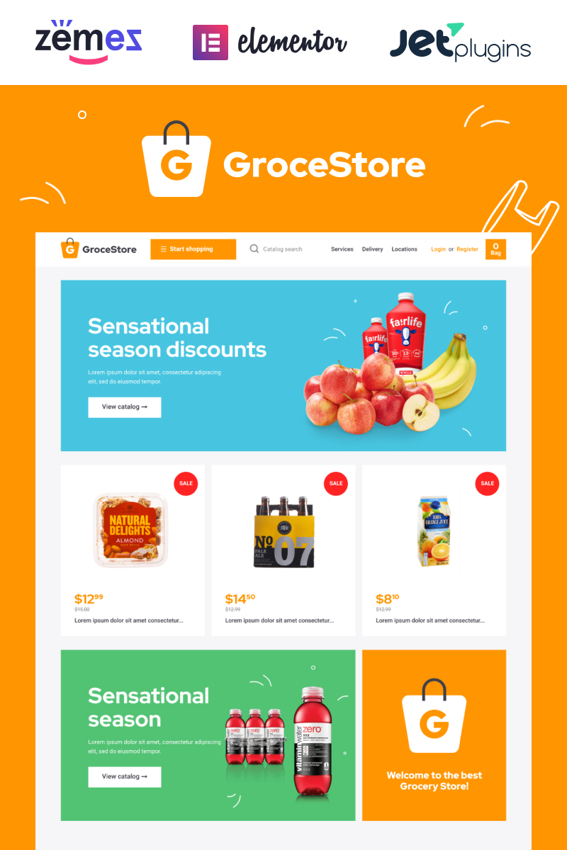 """Tema WooCommerce """"GroceStore - Bright And Attractive Grocery eCommerce Website"""" #90498"""