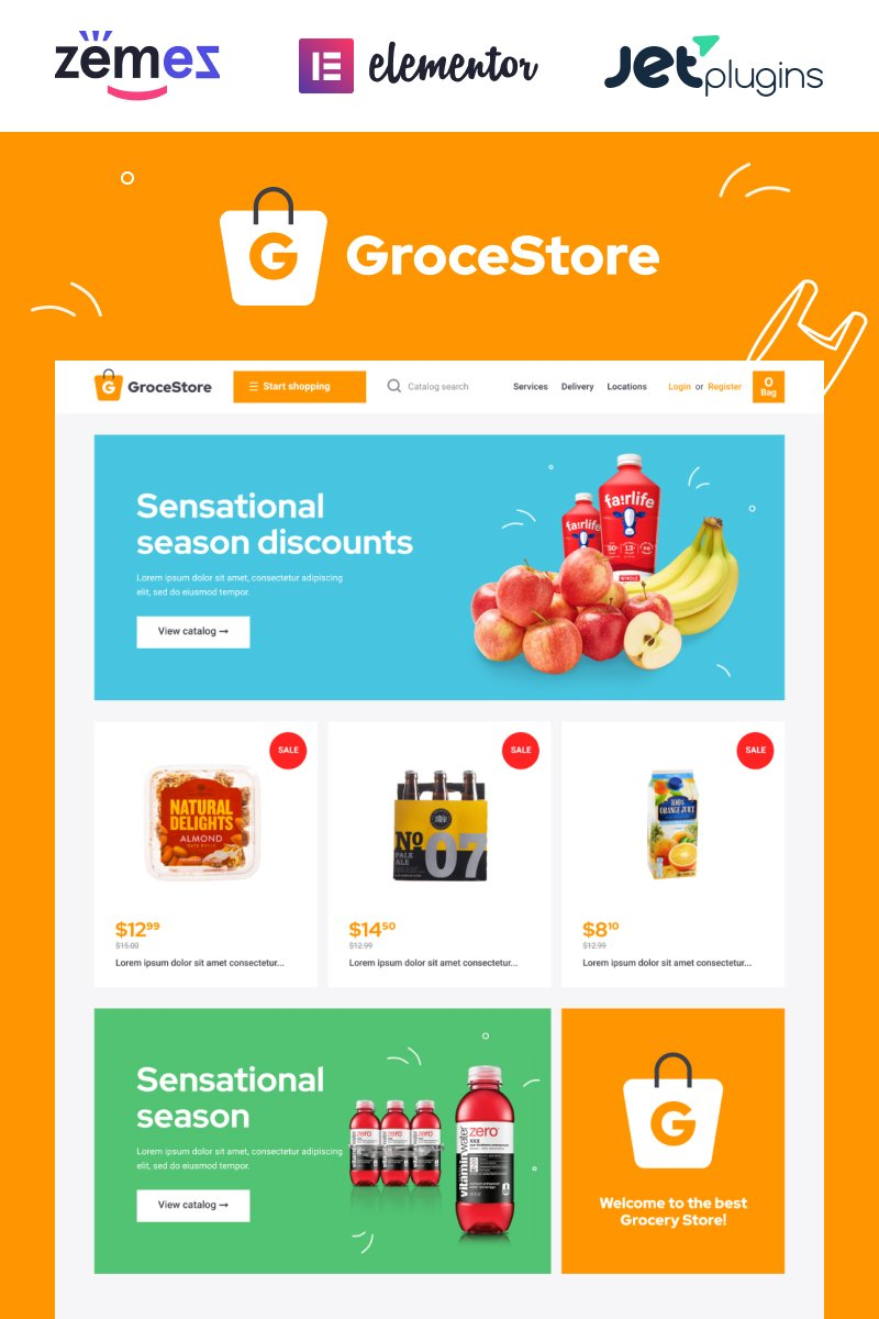 "Tema WooCommerce Responsive #90498 ""GroceStore - Bright And Attractive Grocery eCommerce Website"""