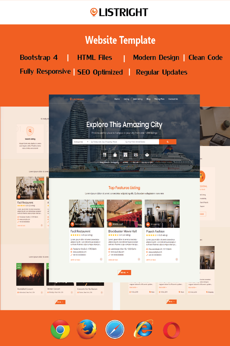"Template Siti Web Responsive #90415 ""Listright- Directory Listing HTML5"""