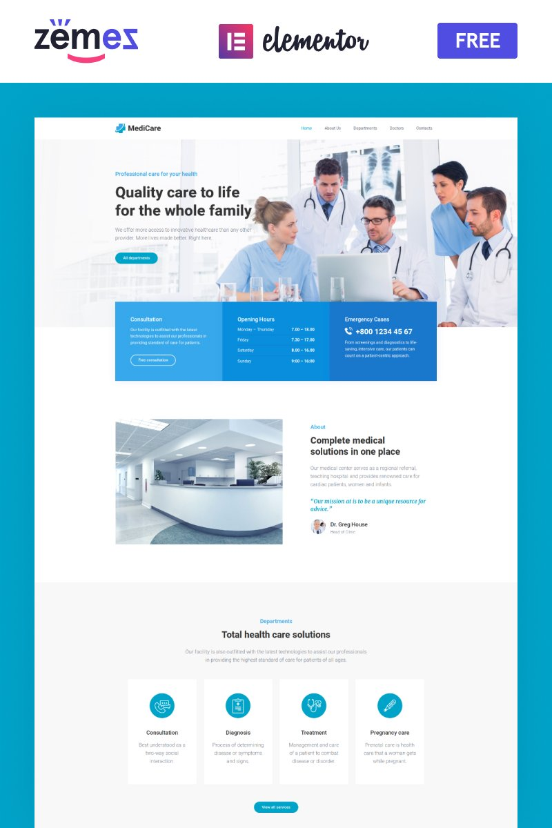 "Template WordPress Responsive #90499 ""MediCare - FREE medical doctor"""
