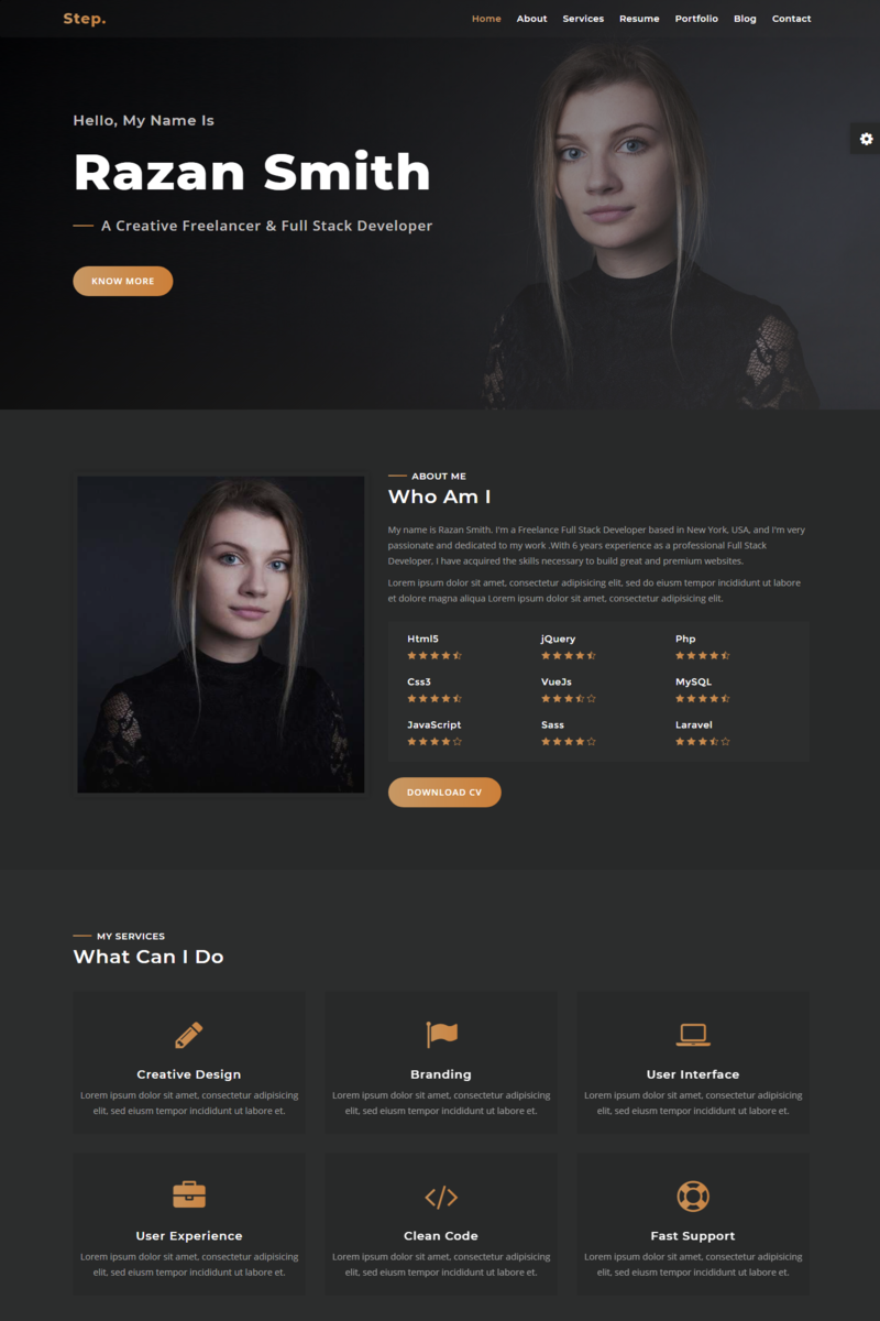 Step - Responsive Personal Portfolio Landing Page Template