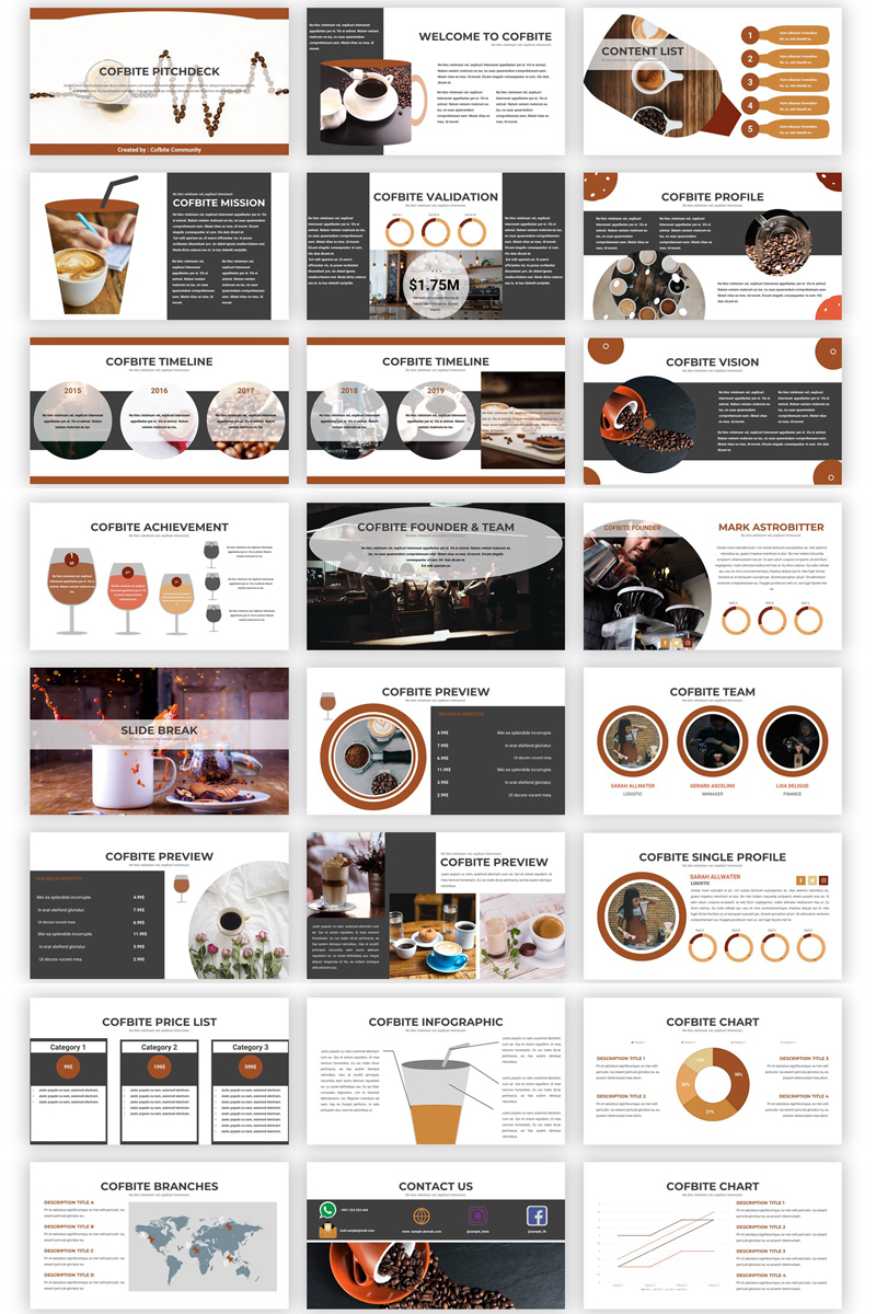 Cofbite - Creative Coffee PowerPoint Template - screenshot