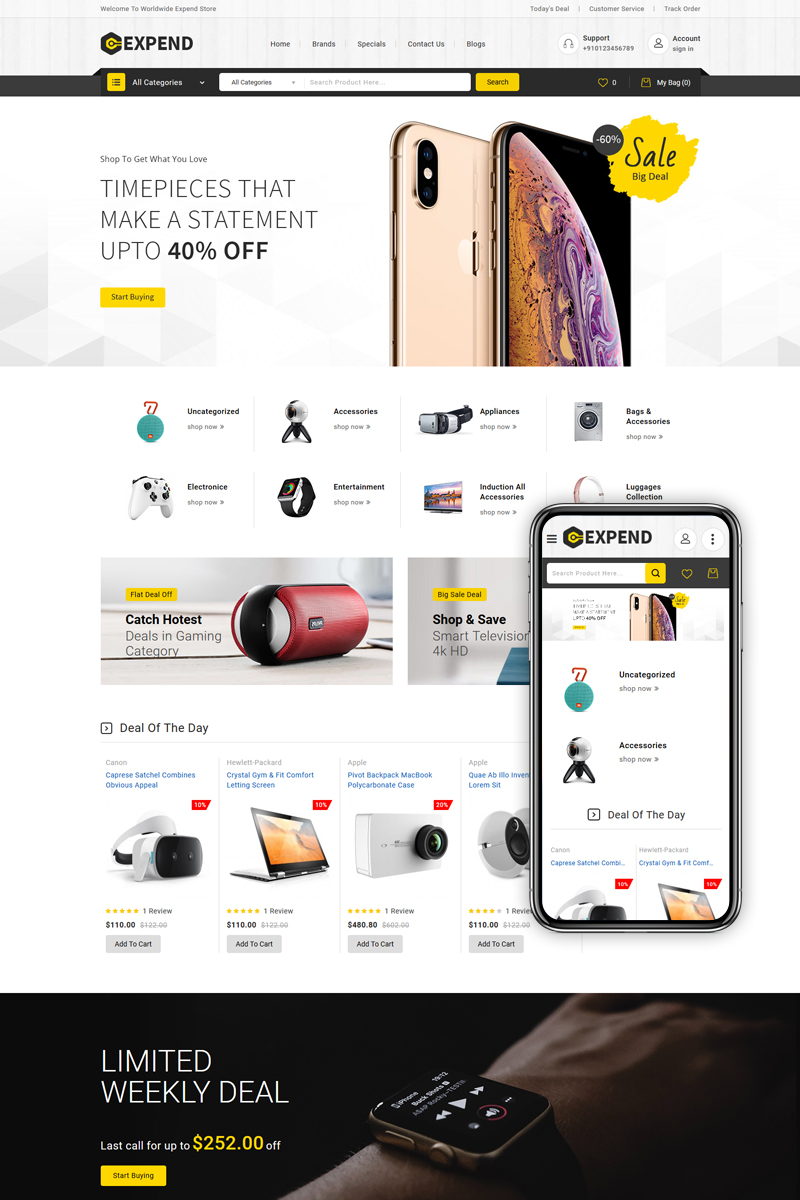 """""""Expend - Multipurpose"""" Responsive OpenCart Template №90569"""