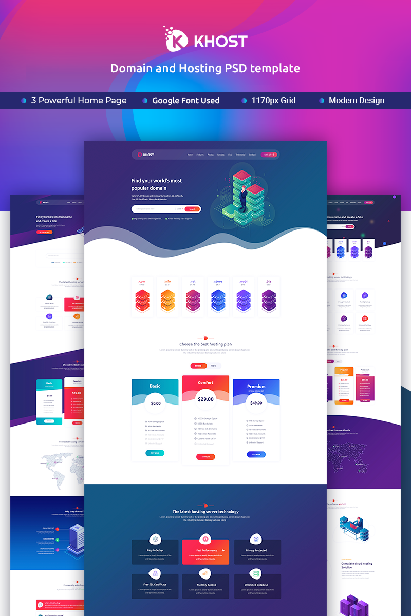 """""""Khost Domain and Hosting"""" modèle PSD Bootstrap #90500"""