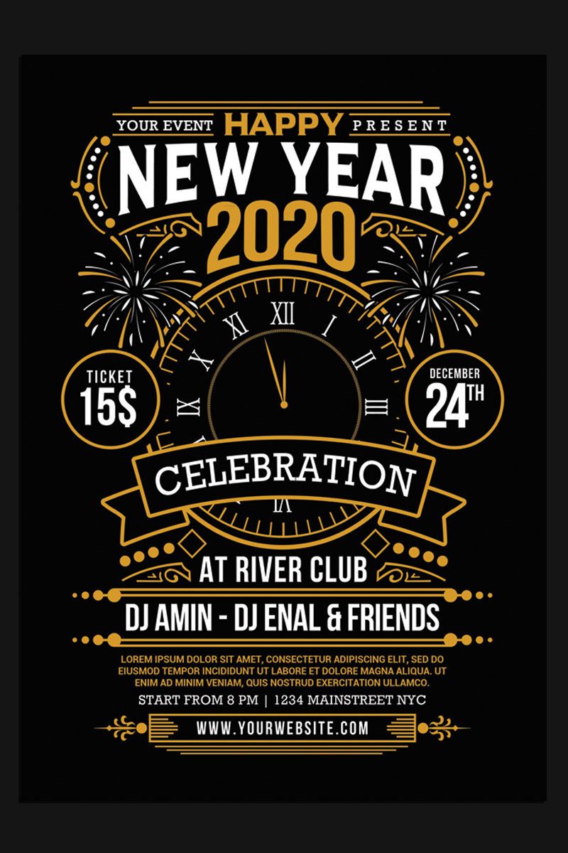 New Year 2020 Party Celebration Corporate Identity Template - screenshot