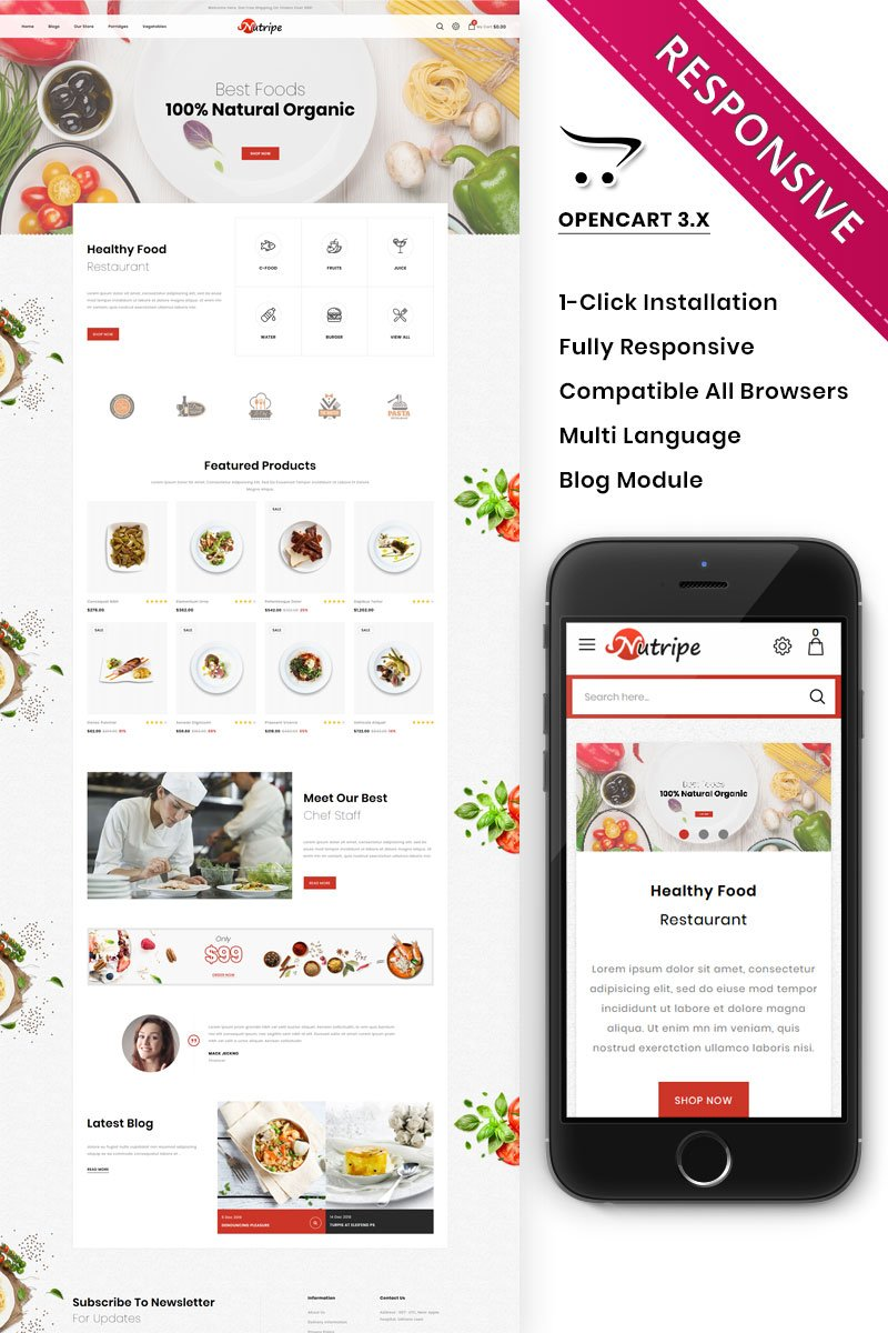 """Nutripe - The Food Store"" - адаптивний OpenCart шаблон №90568"