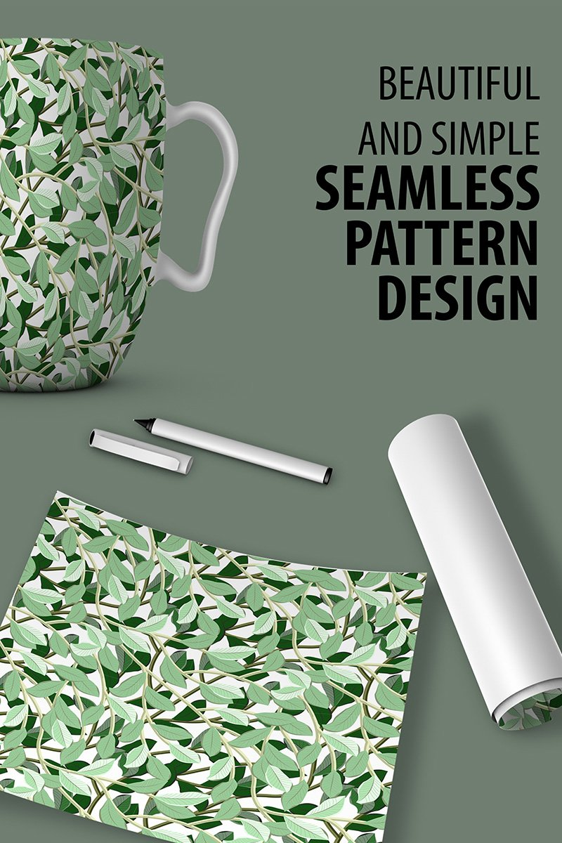 "Pattern ""Awesome Floral Repeat Design with Leaves and Branches"" #90521"