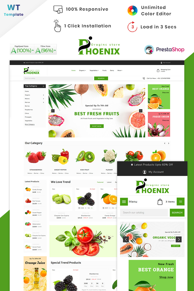 "PrestaShop Theme namens ""Phoenix Organic Big Mall"" #90516"