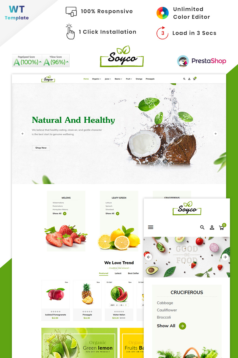 "PrestaShop Theme namens ""Soyco Organic Super Mall"" #90572"