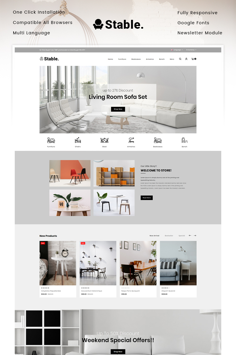 """""""Stable - Modern Furniture Store"""" Responsive OpenCart Template №90517"""