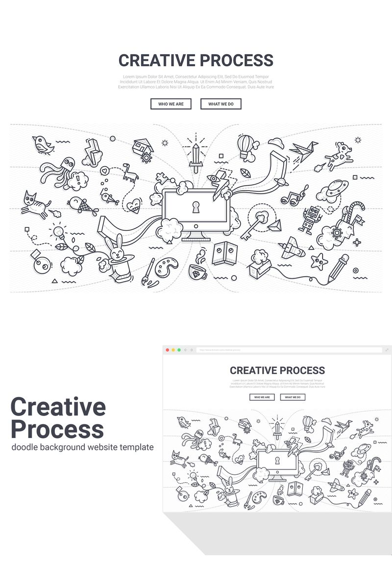 "Tema Background #90579 ""Doodle - Creative Process"""