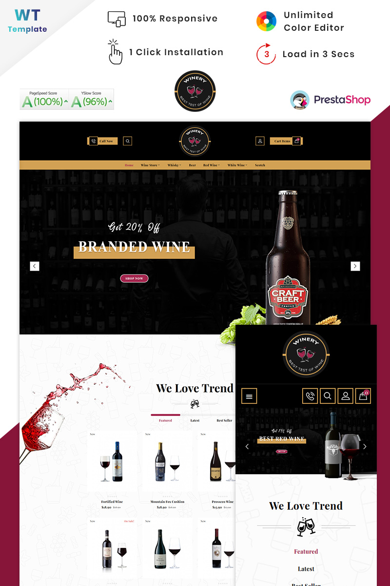 """Winery - France Winery Wine"" thème PrestaShop adaptatif #90571 - screenshot"