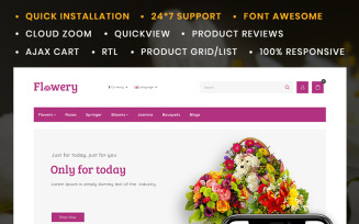 Flowery Flowers Store OpenCart Template