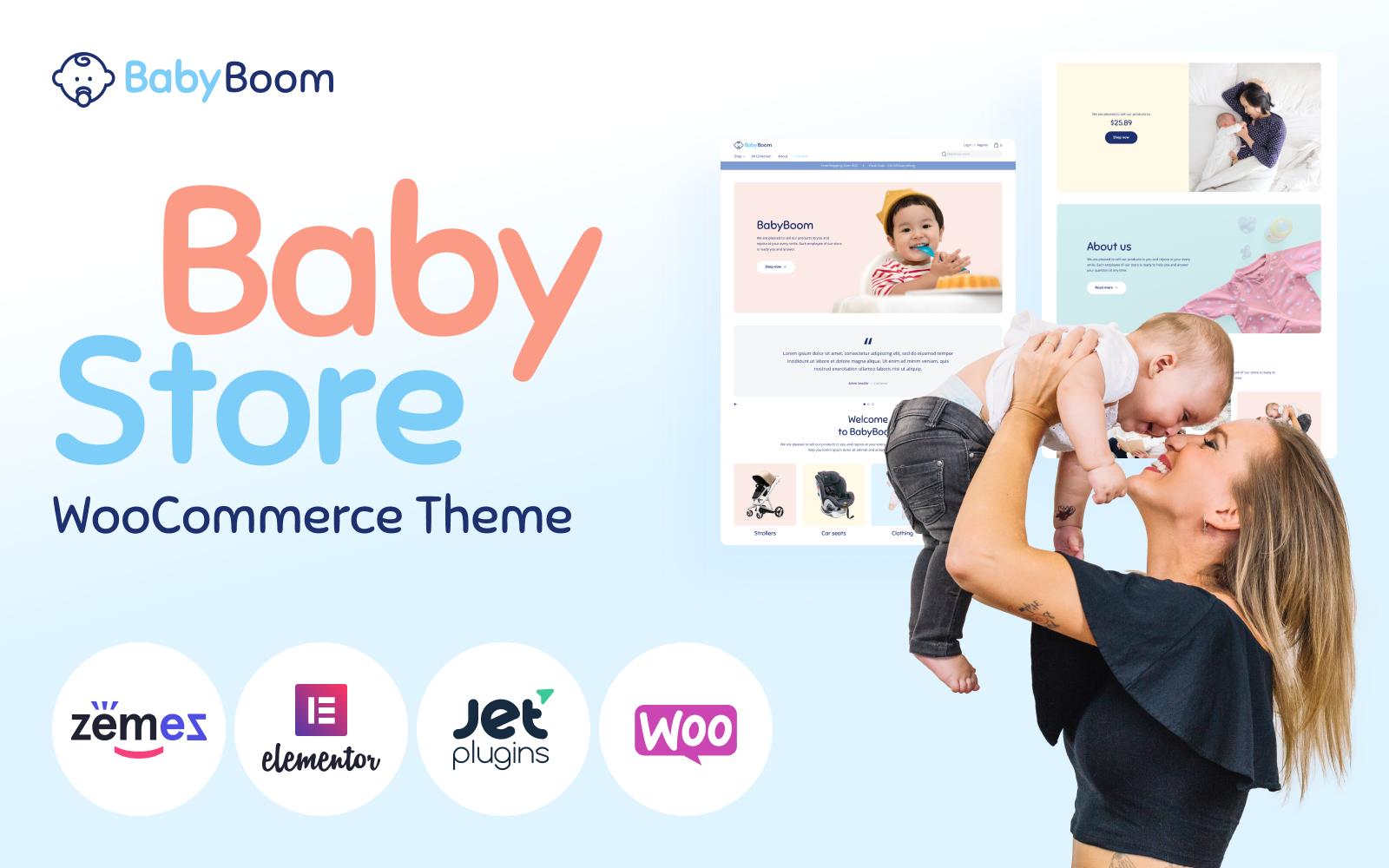 """""""BabyBoom - Cute And Modern Baby"""" - WooCommerce шаблон №90654"""
