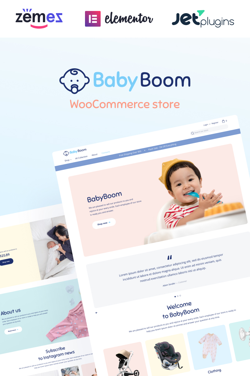"""BabyBoom - Cute And Modern Baby"" - WooCommerce шаблон №90654 - скріншот"