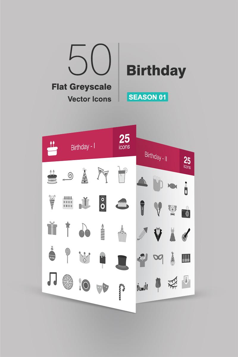 50 Birthday Flat Greyscale Conjunto de Ícones №90664