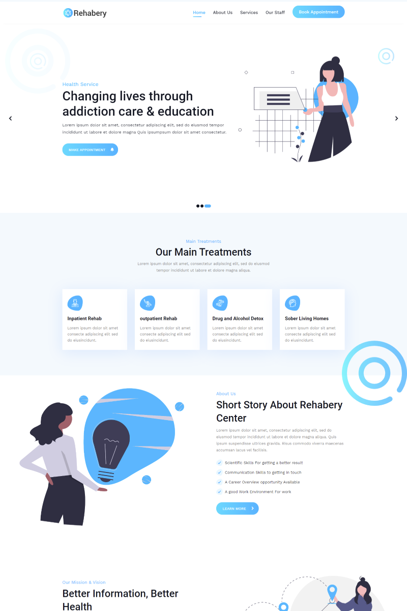 Bootstrap Rehabery Landing page Landing Page-mall #90668 - skärmbild