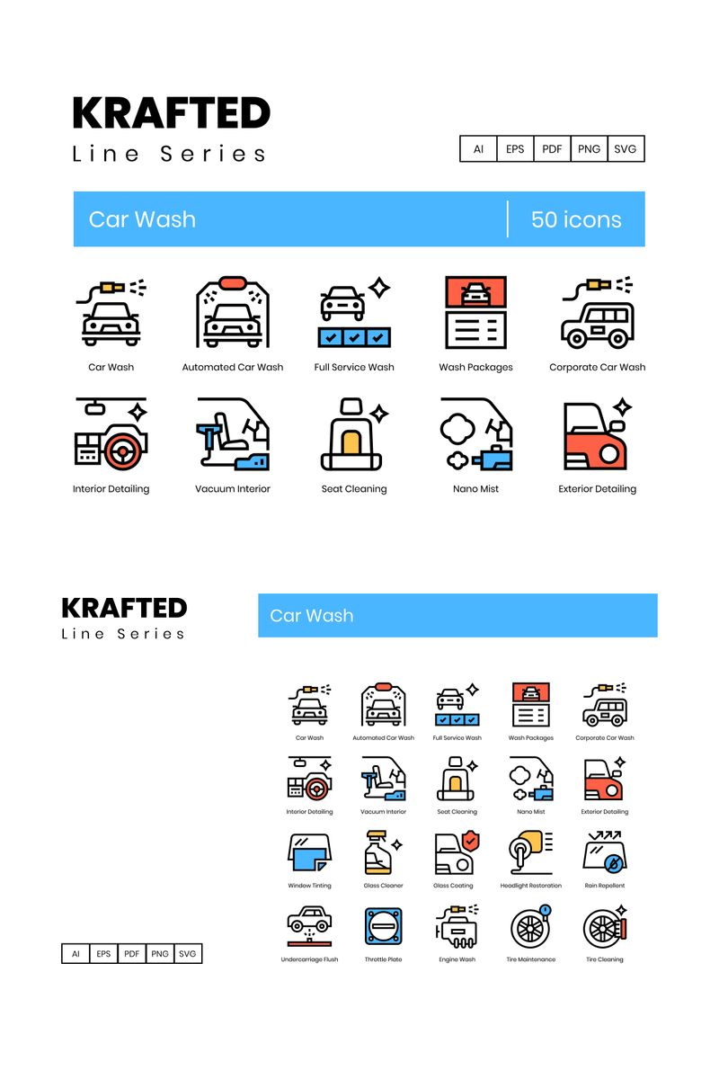 50 Car Wash Icons - Krafted Series Iconset-mall #90601