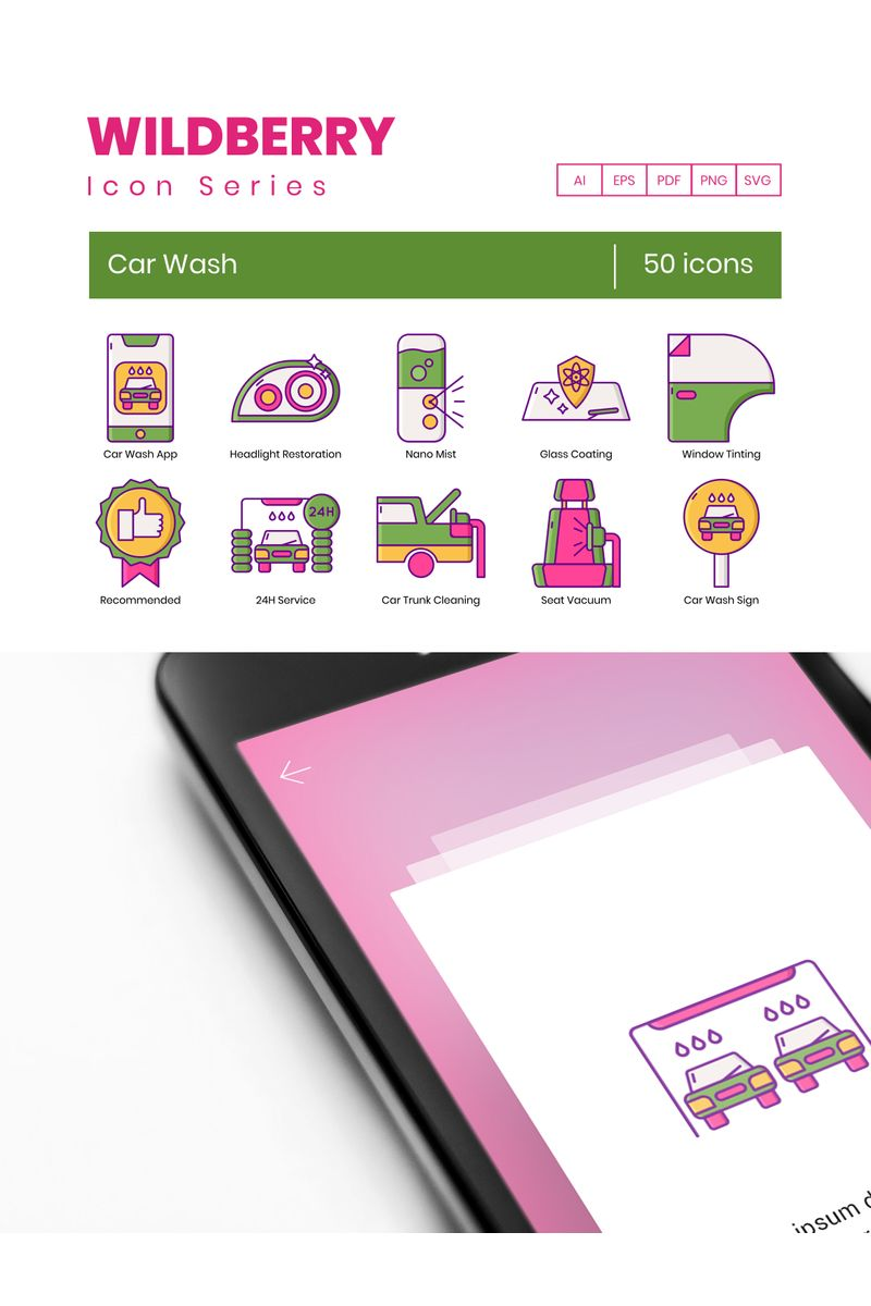 50 Car Wash Icons - Wildberry Series Iconset-mall #90600