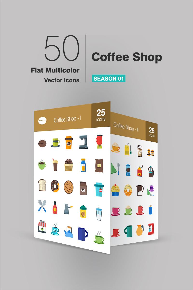 50 Coffee Shop Flat Multicolor Conjunto de Ícones №90663