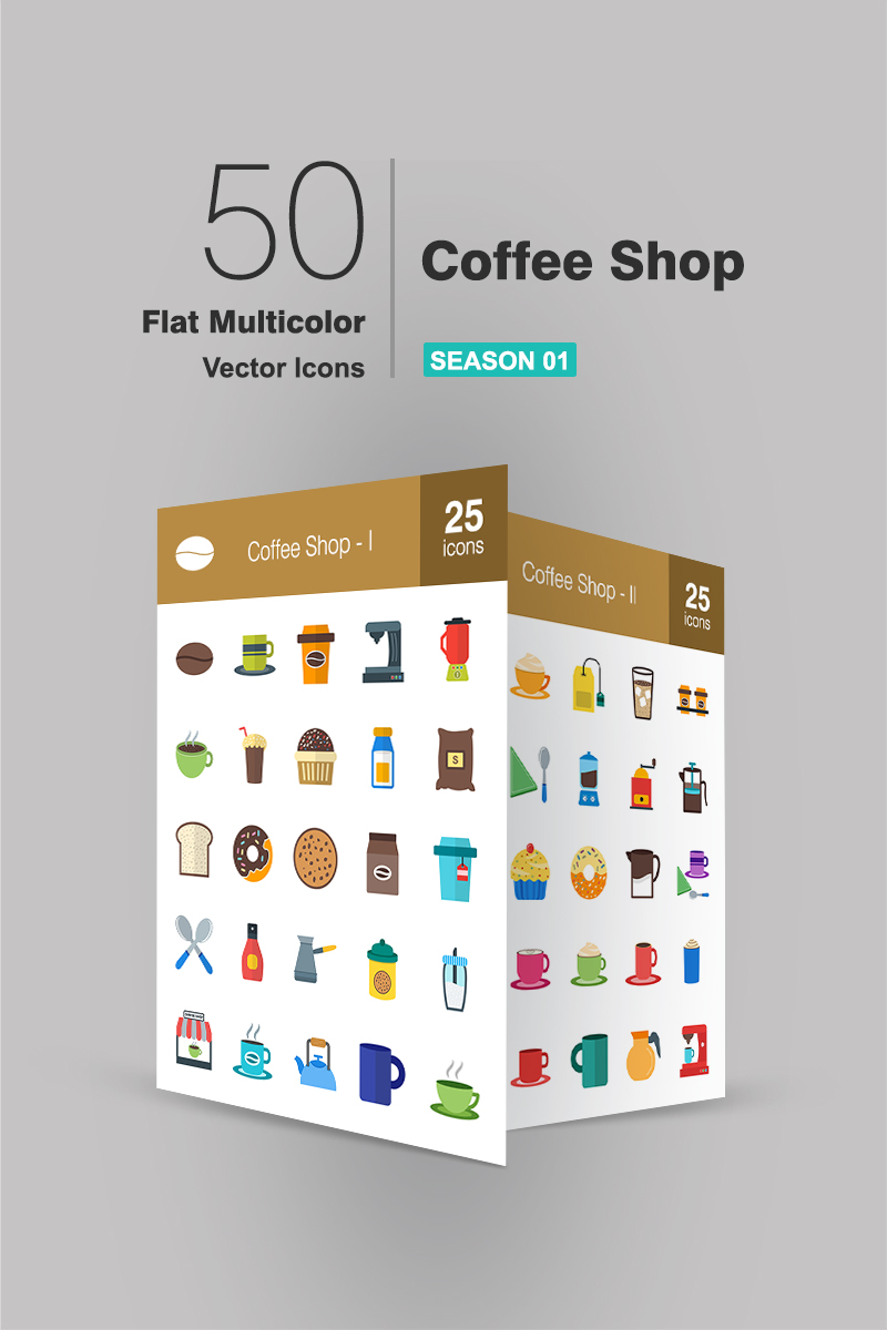 50 Coffee Shop Flat Multicolor №90663