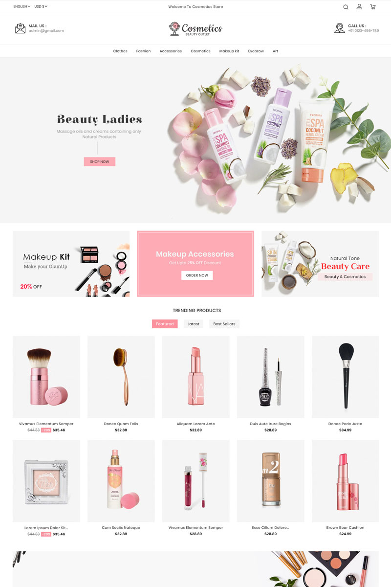 """Cosmetics - Beauty Store"" - адаптивний PrestaShop шаблон №90635 - скріншот"