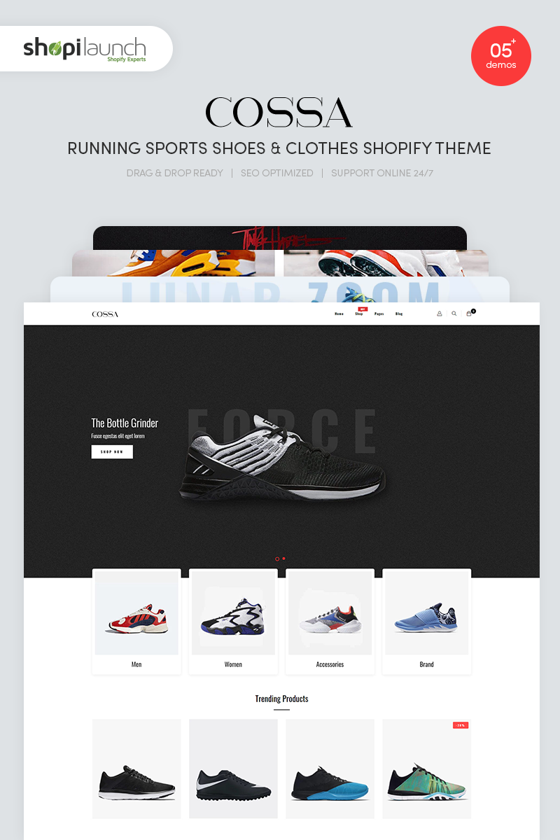 """""""Cossa - Running Shoes, Sports Shoes & Clothes"""" thème Shopify  #90696"""