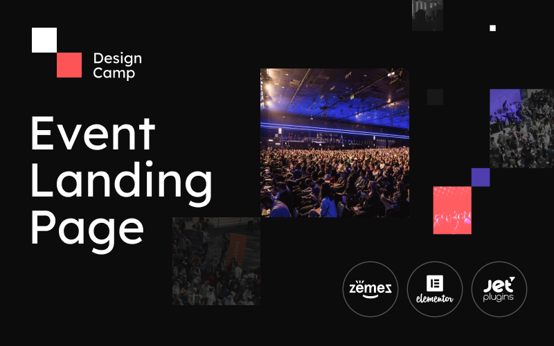 """DesignCamp - Modern Event Landing Page Platform"" Responsive WordPress thema №90623"
