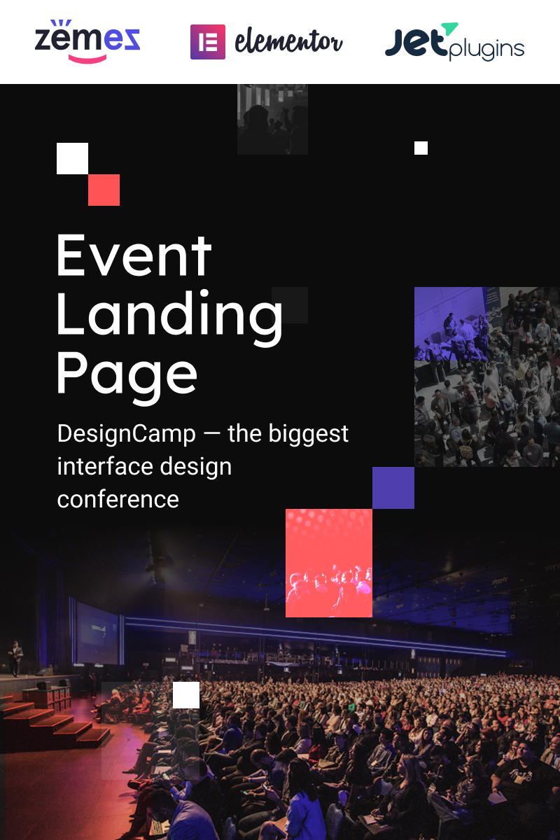 DesignCamp - Modern Event Landing Page Platform Tema WordPress №90623