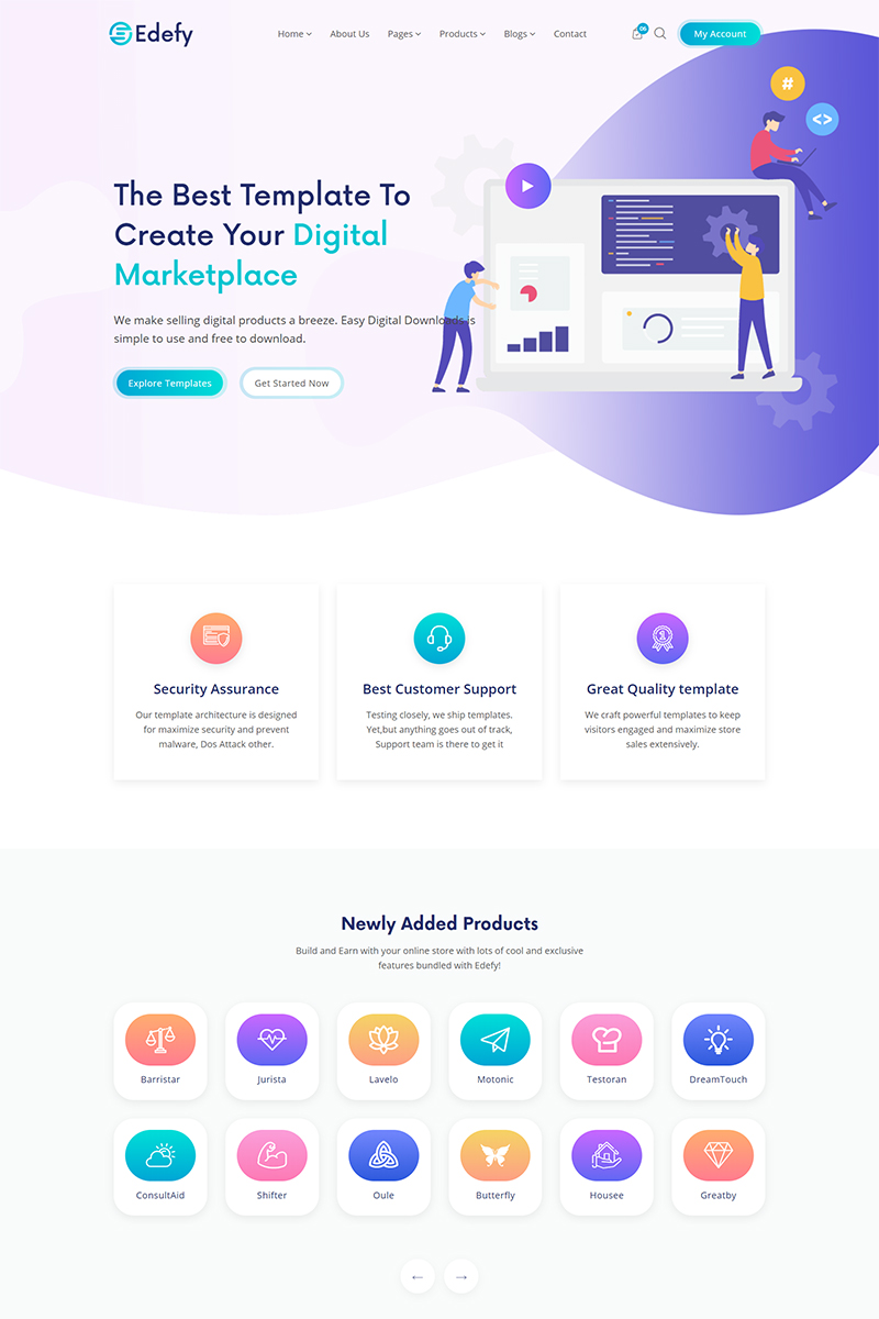 """Edefy - React Js Digital Marketplace"" Responsive Website template №90646"
