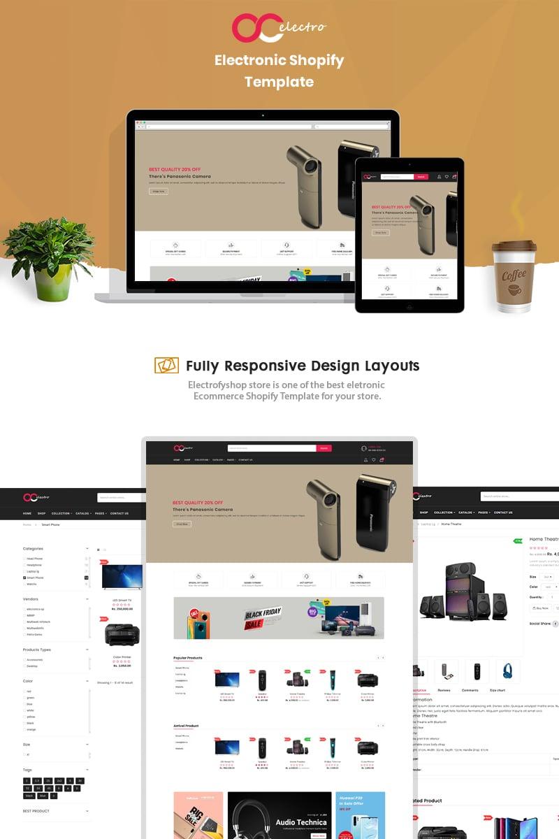 """Electrofyshop - The Electronics & Smartphones"" - адаптивний Shopify шаблон №90683"
