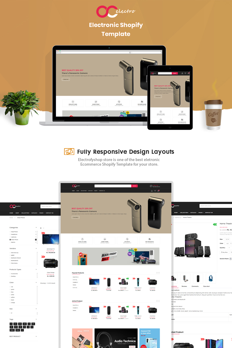 """Electrofyshop - The Electronics & Smartphones"" thème Shopify adaptatif #90683 - screenshot"