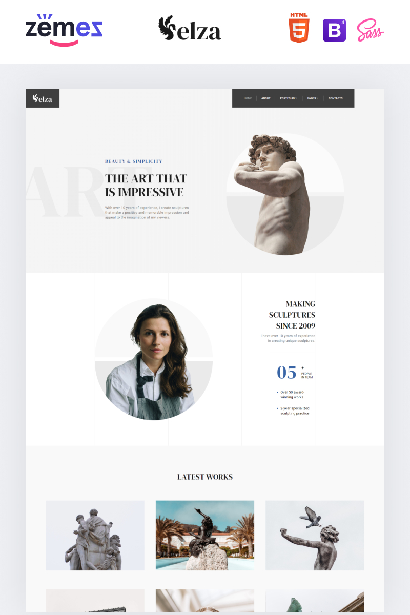 """Elza - Sculptor Multipage"" Responsive Website template №90606"