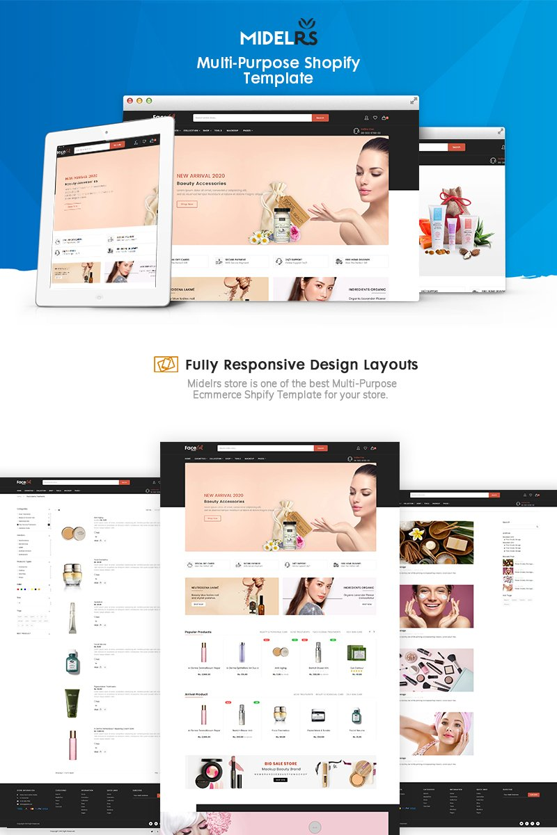 """Faceloft - The Beauty eCommerce"" - адаптивний Shopify шаблон №90643"