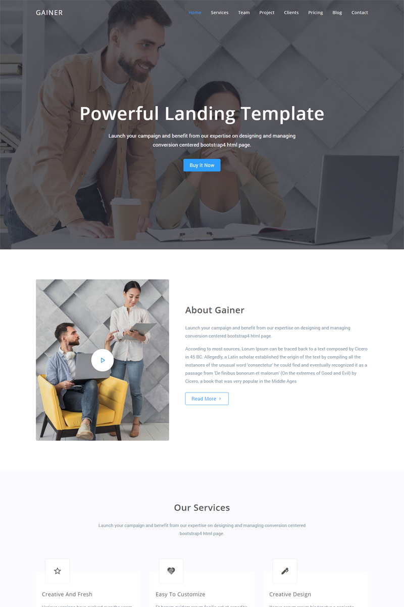 Gainer - Landing Page Template