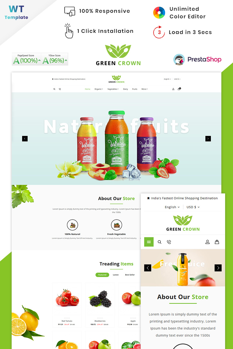"""Green Crown Organic - Grocery"" thème PrestaShop adaptatif #90605"