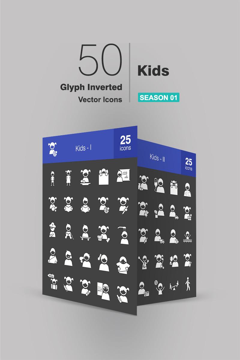 """Icon-Sammlungen Vorlage namens """"50 Kids Glyph Inverted"""" #90659 - Screenshot"""