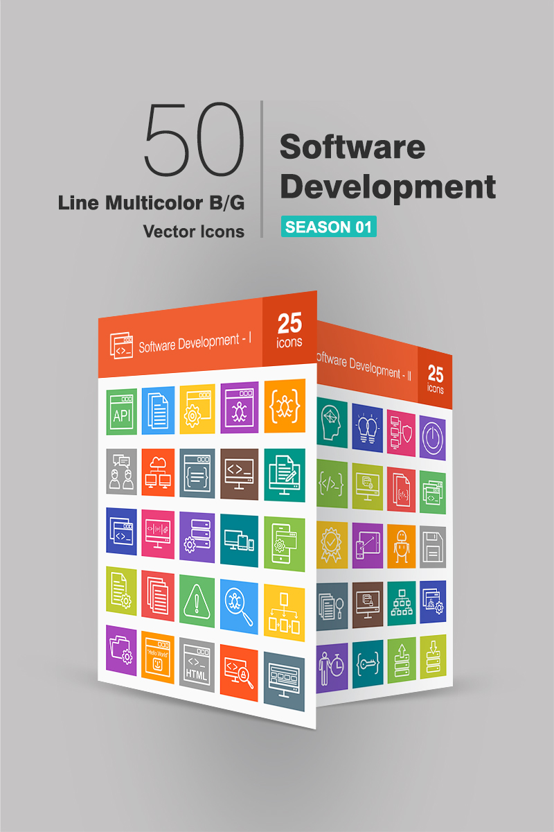 "Icon-Sammlungen Vorlage namens ""50 Software Development Line Multicolor B/G"" #90657 - Screenshot"