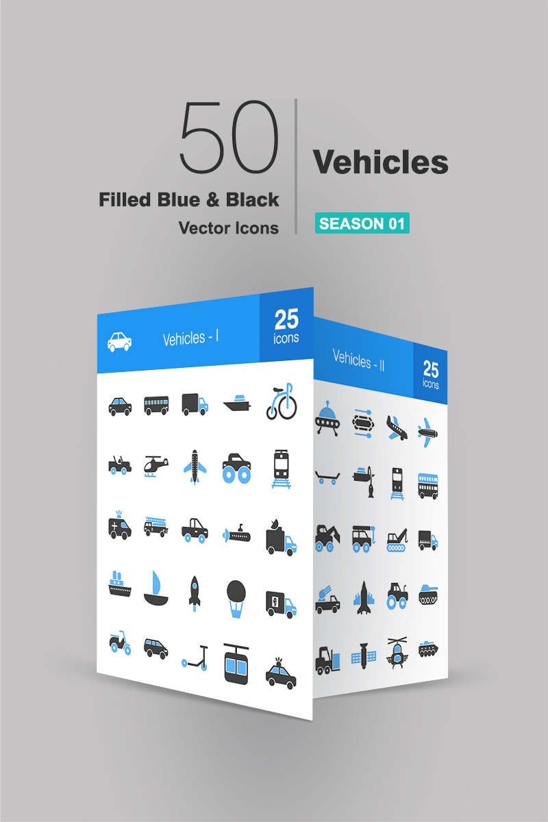 "Iconset šablona ""50 Vehicles Filled Blue & Black"" #90661"